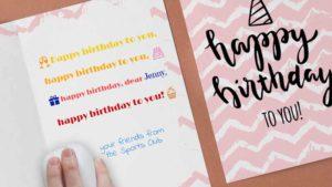 Personalisierung von Geburtstagskarten